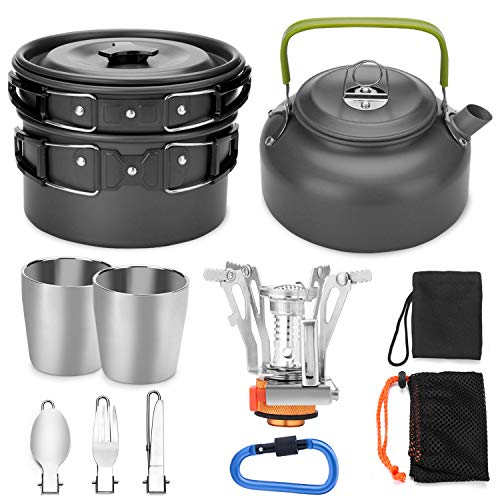 Odoland 12pcs Camping Cookware Mess Kit with Mini Stove, Lightweight Pot Pan Kettle with 2 Cups, Fork Knife Spoon Kit for Backpacking, Outdoor Camping Hiking and - Equipment Cooking Camping