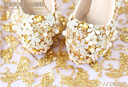 Flower Shoes Golden VIVIOO Shoes Bride Super Women'S Heel 6 Wedding Dress Prom Sandals Crystal Shoes Waterproof Heel qrRRnwpXI