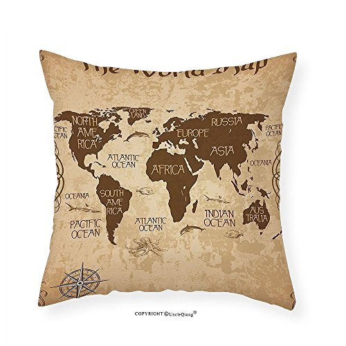 Old World Linens (VROSELV Custom Cotton Linen Pillowcase Map Decorative World Map Decor Ideas Oceans Continents Compass Old Globe Antiqued Design Students Gifts for Teens Boys Girls Room Bedroom Dorm Brown Be 16
