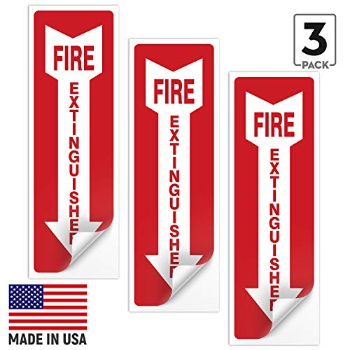 (3 Pack) Fire Extinguisher Sign, Fire Extinguisher Stickers, 4x12 Inches, 4 Mil Vinyl Self Adhesive Durable Decal Stickers, Long Lasting, Weatherproof and UV Protected, Made in USA by SIGO SIGNS from Sigo Signs