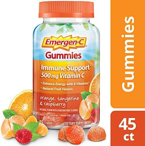 Emergen-C Gummies (45 Count, Orange, Tangerine and Raspberry Flavors) Dietary Supplement with 500 mg Vitamin C Per Serving, Gluten Free