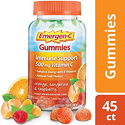 Emergen-C Gummies Vitamin C 750mg Immune Support (45 Count, Orange, Tangerine and Raspberry Flavors), with B Vitamins, Gluten Free