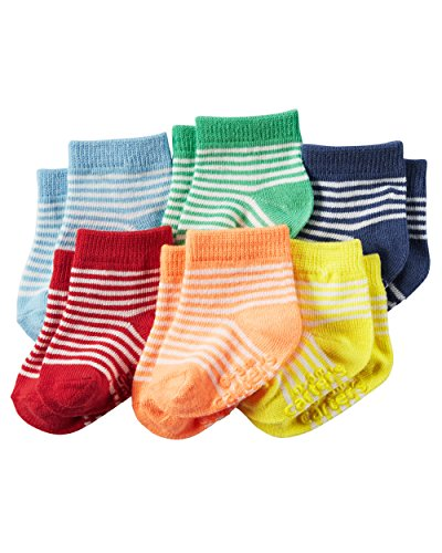 Carters Baby-Boys Newborn Heather Terry Ribbed Socks (Pack of 6) (0-3 Months, Multi Color / Stripes)