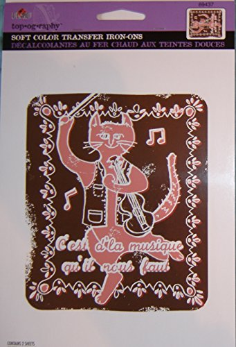 """Soft Color Transfer Iron-Ons, French Cat with Fiddle """"C"""