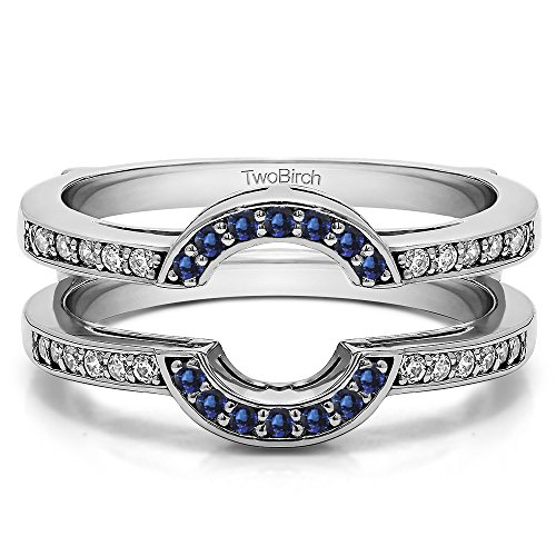 Silver Round Shaped Classic Style Halo Wedding Ring Guard with Diamonds and Sapphire (0.38 ct. twt.) by TwoBirch