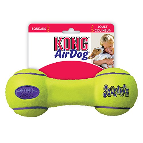 KONG Air Dog Squeaker Dumbbell Dog Toy, Large, Yellow