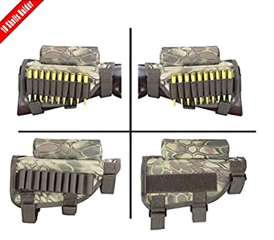 MATE Portable Adjustable Tactical Buttstock Shell Holder Cheek Rest Pouch Holder Pack With Ammo Carrier Case Camo - Hold 10 Shells
