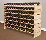 eXXtra Store 7 Tiers Solid Wood Bottle Holder for Wine Storage and Display, 91 bottles capacity +eBook