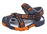 iDuoDuo Boys Fashion Tartan Adventurous Strap Width Fisherman Sandals Beach Shoes Orange 9.5 M US Toddler