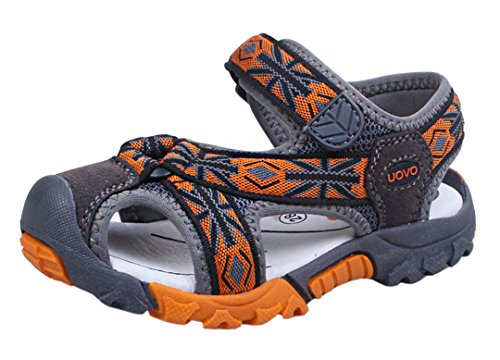 iDuoDuo Boys Fashion Tartan Adventurous Strap Width Fisherman Sandals Beach Shoes Orange 9.5 M US Toddler by iDuoDuo
