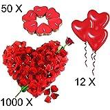 Jonami Kit Romántico de Velas y Pétalos | 50 Velas en Forma de Corazón + 1000 Pétalos de Rosa Roja de Seda + 12 Globos Corazón Rojo - Decoración para Bodas, San Valentín y Compromiso