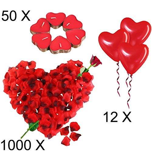 pack de globos velas y petalos para san valentin en forma de corazon