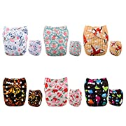 ALVABABY New Printed Design Reuseable Washable Pocket Cloth Diaper 6 Nappies + 12 Inserts 6DM38