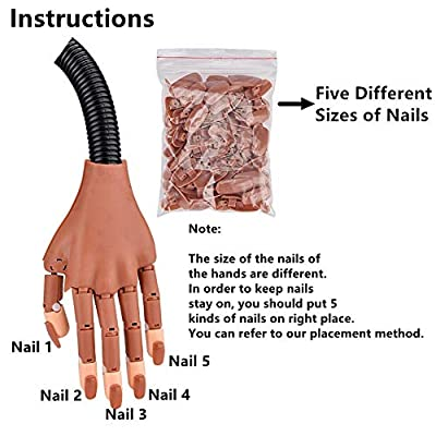 Nail Trainning Practice Hand - Nail Display Manicure Supply - Flexible Movable False Fake Hands for Nail Manicure-Best Manicure DIY Print Practice Tool