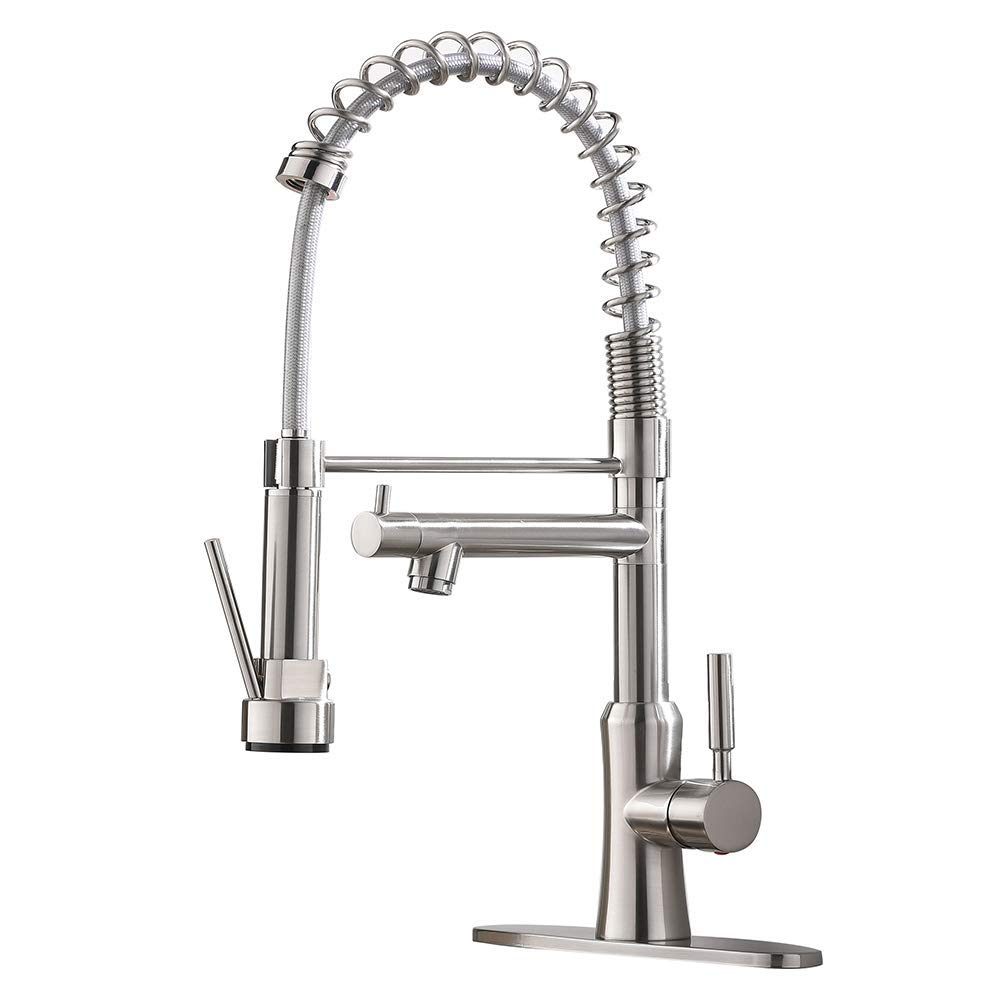Friho Lead-Free Commercial Modern Brushed Nickel High Arch Stainless Steel Single Handle Single Lever Two Spouts Pull Out Pull Down Sprayer Spring Kitchen Sink Faucet, Brushed Nickel Kitchen Faucet