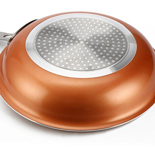 Copper Pan 9.5-Inch Nonstick Ceramic Induction Induction Compatible Frying Pan, Skillet, Saute Pan; Dishwasher Safe Oven Safe (9.5-Inch)