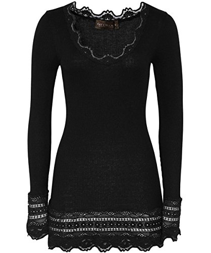 fb31088e8401 Rosemunde Silk T-Shirt Medium w Wide Lace in Black (Small)