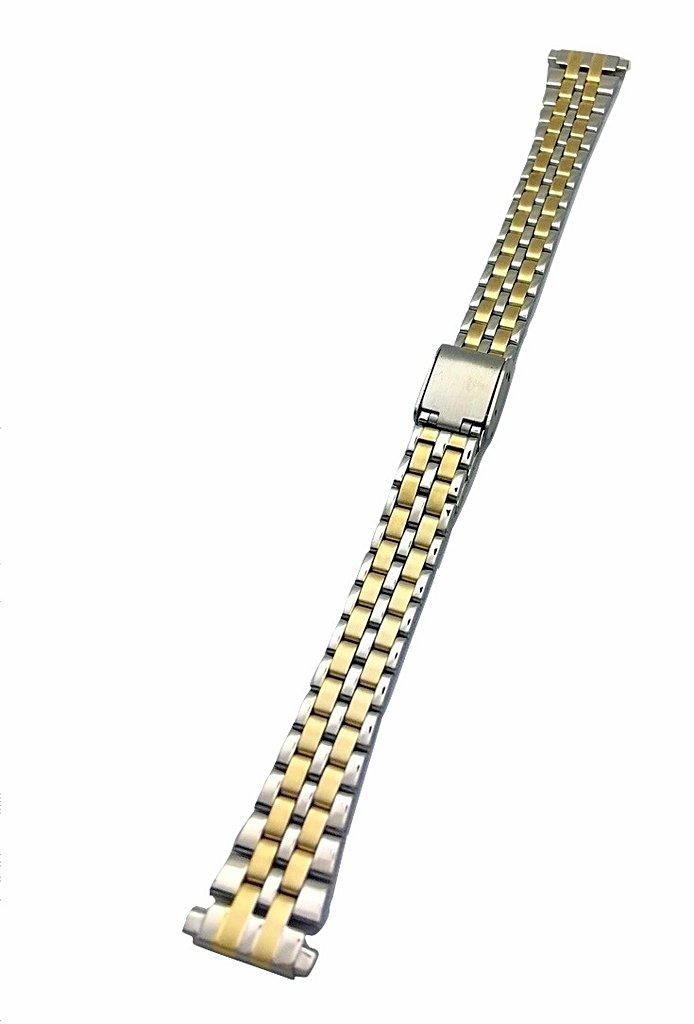 12-16mm Metal Stainless Steel Watch Band by NewLife   Women's Gold-Tone and Silver Tone Watch Bracelet Replacement Wrist Band with Clasp that brings New Life to Any Watch
