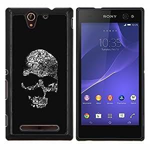 EJOOY---Cubierta de la caja de protección para la piel dura ** Sony Xperia C3 ** --Cráneo negro oscuro Death Shadow Huesos