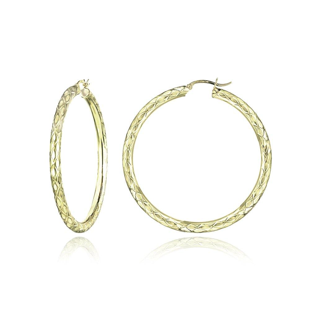 14K Gold Diamond-Cut 4mm Lightweight Large Round Hoop Earrings, 57mm