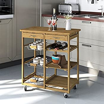 Clevr Rolling Bamboo Kitchen Cart Island Trolley, Cabinet W/ Wine Rack  Drawer Shelves,