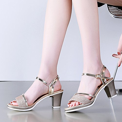 With Golden Match In Buckle Shoes Coarse All Heeled A Waterproof AGECC Female Sandals High zwXOOR