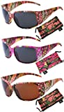 Hornz Hot Pink-Purple Camouflage Polarized Sunglasses Country Girl Style Rhinestone Accents & Free Matching Microfiber Pouch – 3 Pack