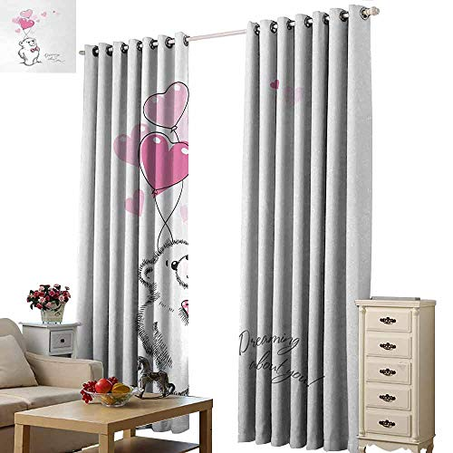 Homrkey Warm Curtain Bear Sweet Little Teddy Bear Keeping Pink Heart Shaped Balloons Romantic Quote Light Blocking Drapes with Liner W96 xL72 Pale Pink Black White