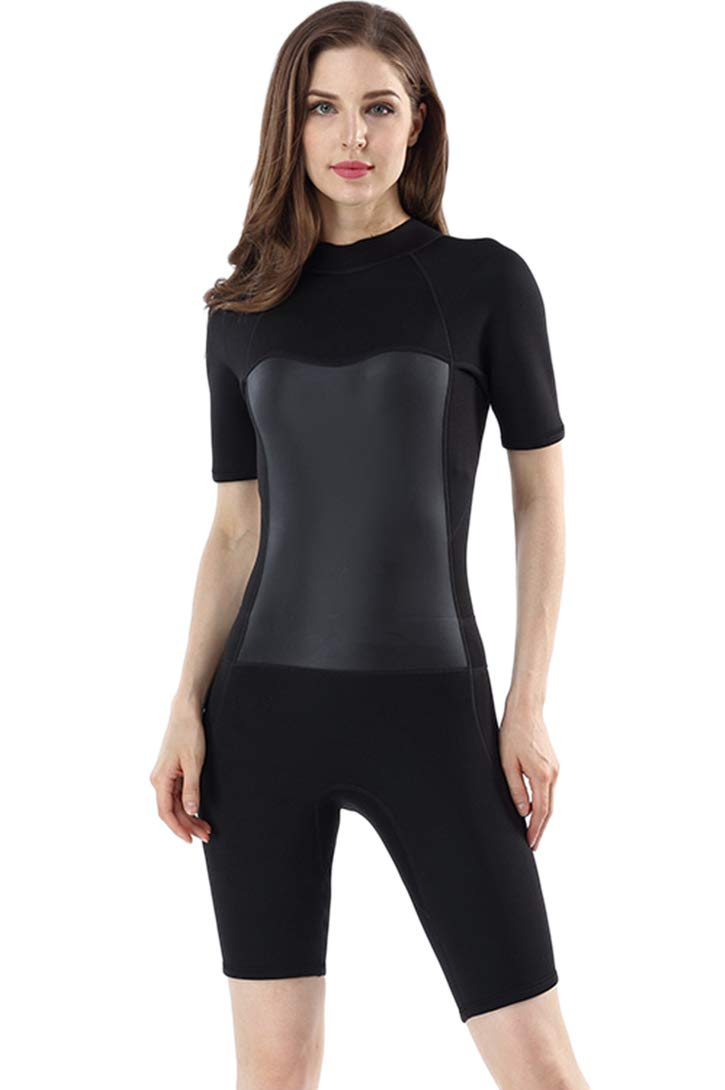 Micosuza Women's Wetsuit Premium Neoprene 2mm Short Sleeve Zip Back Shorty Diving Suit Surfing Suit Snorkeling Suit by Micosuza