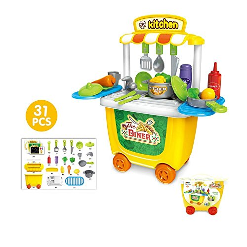 OWIKAR Pretend Play Kitchen Trolley Toy, Children Fast Food Cart Kitchen Pretend Cooking Play Toy Early Educational Puzzle Toy Set for Kids, Boys , Girls, Child Gift 31pcs/Set