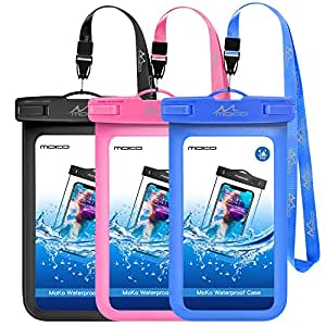 Universal Waterproof Phone Case, [3 Pack] Moko Waterproof Phone Pouch Dry Bag with Neck Strap for iPhone X/8 Plus/8, Samsung Galaxy S9 Plus/S9, BLU, Moto & More - Black + Pink + Dark Blue