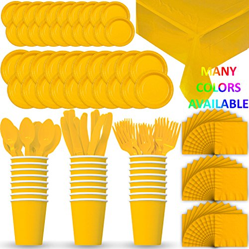 Disposable Paper Dinnerware for 24 - Yellow -