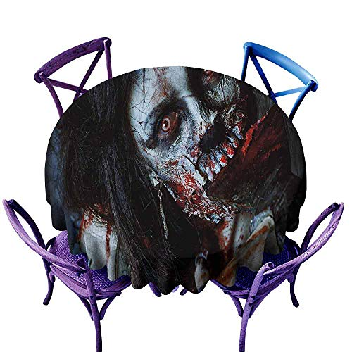 Zombie Decor Table Cover Scary Dead Woman with Bloody Axe Evil Fantasy Gothic Mystery Halloween Picture pad Round Tablecloth Multicolor Diameter -