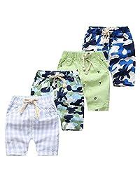 ARAUS Baby Cotton Linen Shorts Boy Girl Elastic Beach Pants Summer Clothes 4 Pcs