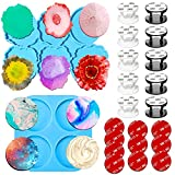 Amurgo Phone Grip Resin Mold Set, 2-Piece Epoxy Resin On Top Phone Grip Mold for Pop Socket with 10 Foldable Finger Holders and 10 Original Replacement Rubber Pads for Phone Stand.