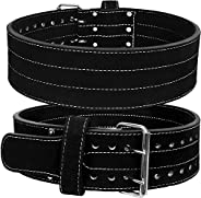 Weight Lifting/Power Lifting Belt Suede Double Prong Leather Belt - 4 Inches Wide, 10 MM - Maximum Support &am