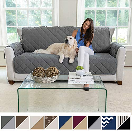 MIGHTY MONKEY Premium Reversible Large Sofa Protector for Seat Width up to 70 Inch, Furniture Slipcover, 2 Inch Strap, Couch Slip Cover Throw for Pets, Dogs, Kids, Cats, Sofa, Charcoal Light Gray