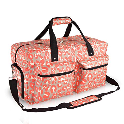 Womens Duffle - Canvas Duffle Bag for Women Large Weekend Bag Wipe Clean Overnight Travel Tote Water Resistance Carry on Bag with Shoe Compartment(Leopard)