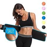ABAHUB Waist Trimmer Weight Loss Ab Belt for Women & Men Stomach Fat Burner Wrap Premium Waist Trainer, Blue Medium 40'