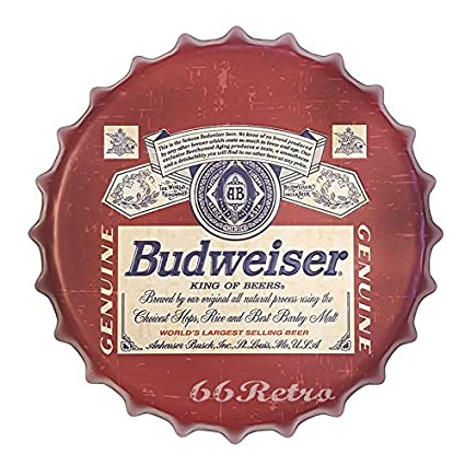 BUDWEISER Vintage Retro 42cm Wall Sign Metal Bottle Top Beer Lager Bud  FREE P+P