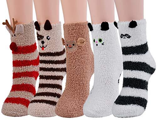 Christmas Socks,Aniwon 5-Pair Xmas Fuzzy Cozy Slipper Socks Winter Warm Thick Home Socks For Women Girls ()