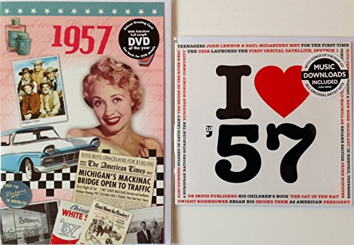 1957 BIRTHDAY or ANNIVERSARY GIFT - 1957 News DVD - 73 Minutes Best Footage & 1957 Music Compilation CD with 20 Original Hit Songs and Two Year Greetings (1957 Dvd)