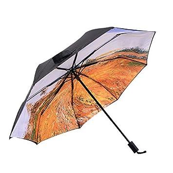 Paraguas plegable, resistente al viento, romántico diseño de estrellas, revestimiento especial con protección