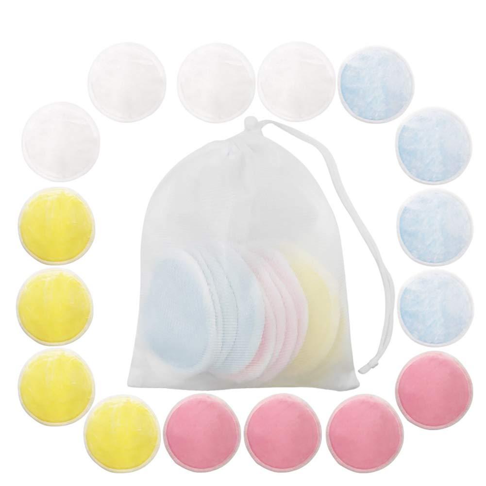 Gelb Beito 3PCS Bambusfaser-Make-Up Entferner Pads Wiederverwendbare Gesichtsreinigungs-Puffs Washable Wattepads Ultra Soft-Gesicht-Pads F/üR Hautpflege
