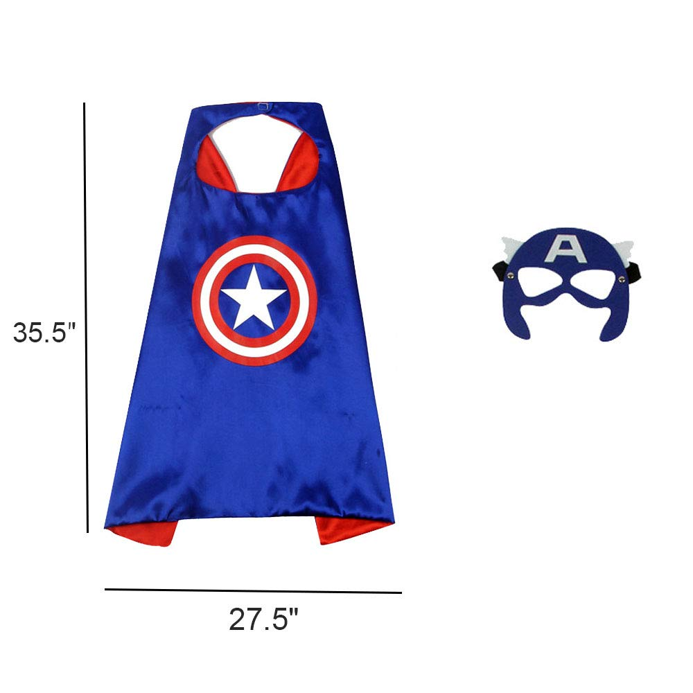 Captain America 12'' Shield + Blue Cape + Mask Cosplay Set, OMGOD 3 PCS Cartoon Superhero Dress up Costumes Suit, Plastic Shield + Satin Cape and Felt Mask, for Kids Boy Role Play Toy by OMGOD