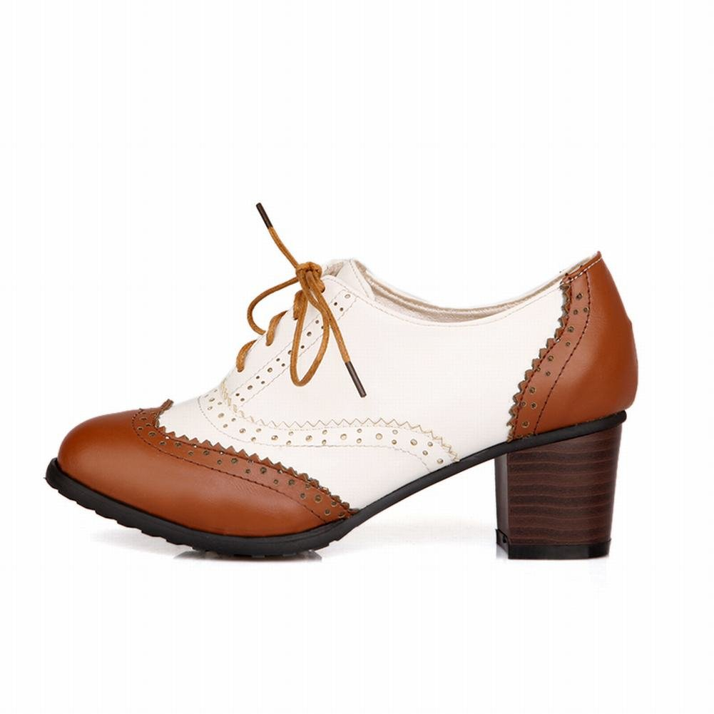 Show Shine Women's Fashion Block High-heel Leather Lace-up Oxford Shoes:  Amazon.co.uk: Shoes & Bags