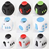 FIDGET DICE Oval Cube 6 Sides Anxiety and Stress Relife Toys for Children and Adults (White - Black)