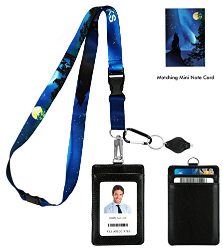 Wolf and The Moon Print Lanyard with PU Leather ID Badge Holder Wallet with 3 Card Pockets, Safety Breakaway Clip & Matching Note Card. Carabiner Keychain Flashlight. Three Wolf Moon Parody.