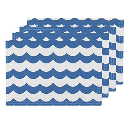(blue and white scallop 4pc Organic Cotton Sateen Cloth Placemat Set - Zigzag Kids Nursery Zigzag Waves Chevron Waves Kids Chevron Waves Scallop Baby Boy by Willowlanetextiles (Set of 4) 13 x 19in)