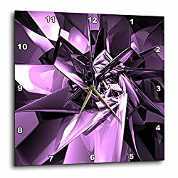 3dRose LLC Metals of Purple Digital Artwork of Reflective Purple Metal Contours 10 by 10-Inch Wall Clock